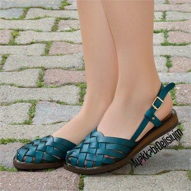 Mulal Petrol Yesil Gercek Deri Sandalet Sandalet Topuklu Sandalet Moda Ayakkabilar