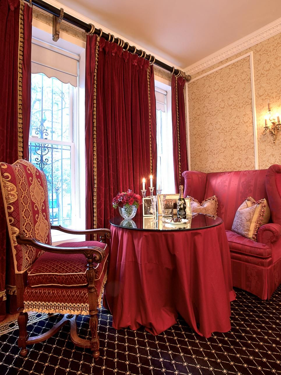 burgundy curtains trimmed in gold hang in this small formal dining rh pinterest co uk