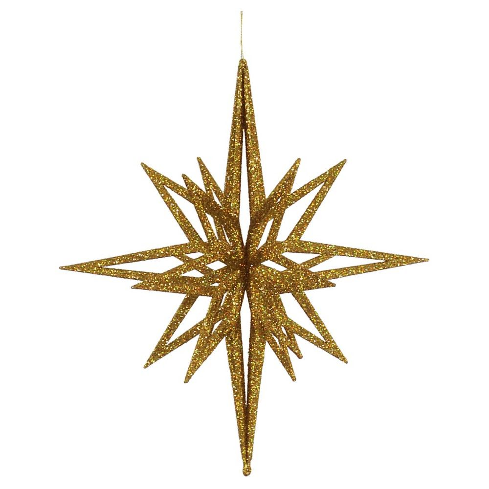 16 Gold Glitter 3d Star Christmas Ornament Star Ornament Gold