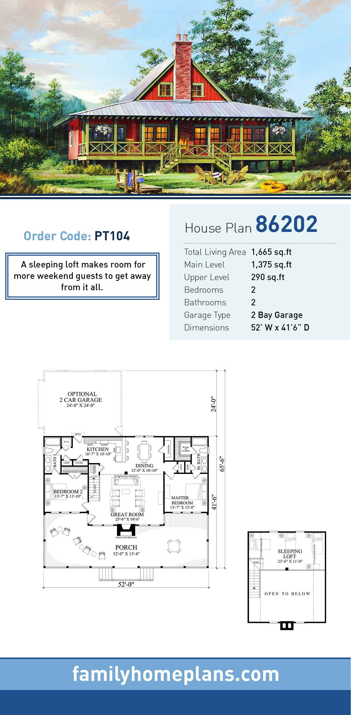 2 bedroom loft  Bungalow House Plan   Total Living Area  SQ FT