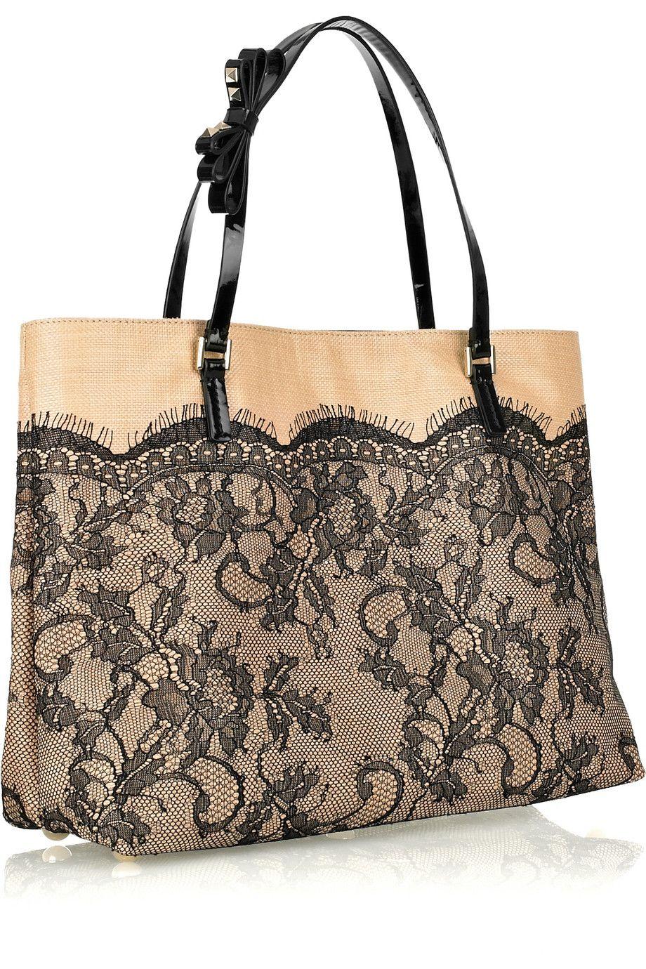 Valentino Raffia And Black Lace Tote Bag 1395