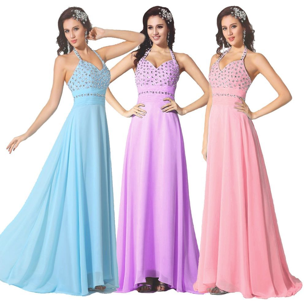 FairOnly Womens Halter Evening Formal Dress Prom Gown Stock Size:6 8 ...