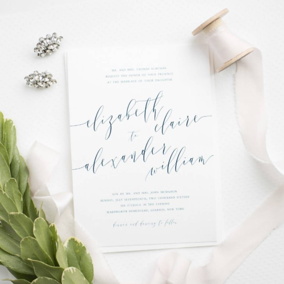 how to address wedding invites%0A Romantic Calligraphy Wedding Invitations in Navy Blue