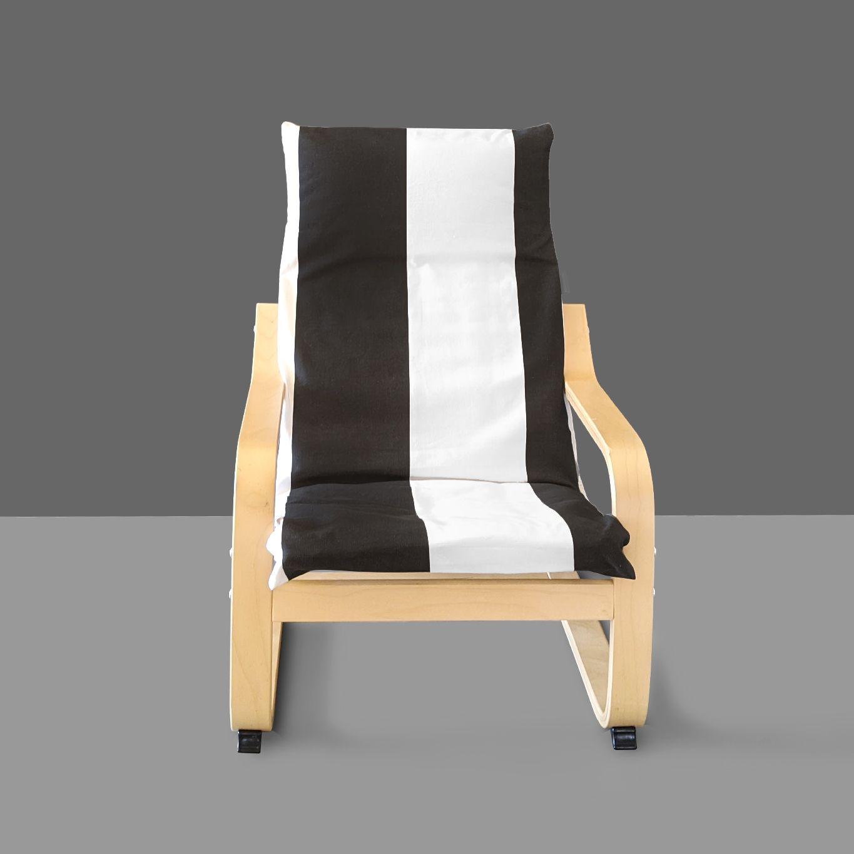 Wide Vertical Black White Stripe Ikea Kids Poang Cushion Slip Cover