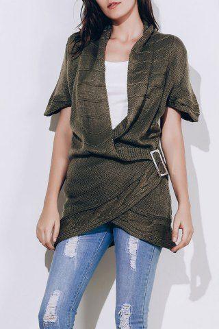 135886d0fd1 Shawl Collar Buckled Surplice Sweater Dress