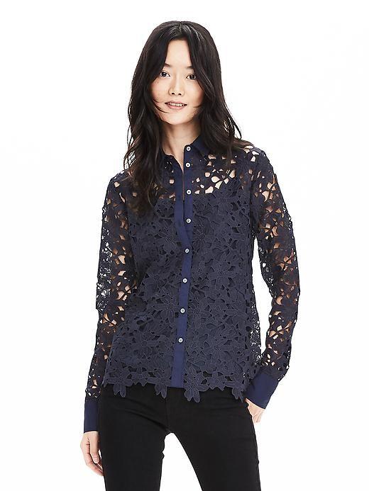 Lace Button-Front Blouse