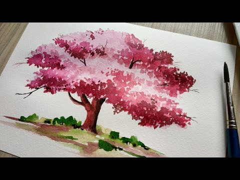 How To Paint A Cherry Blossom Tree In Watercolor Watercolor Painting Trees Paint Cherry Blossom Painting Cherry Blossom Watercolor Tree Watercolor Painting