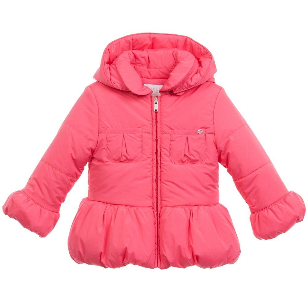 c471673ab862 Gucci Baby Girls Coral Pink Padded Coat at Childrensalon.com ...