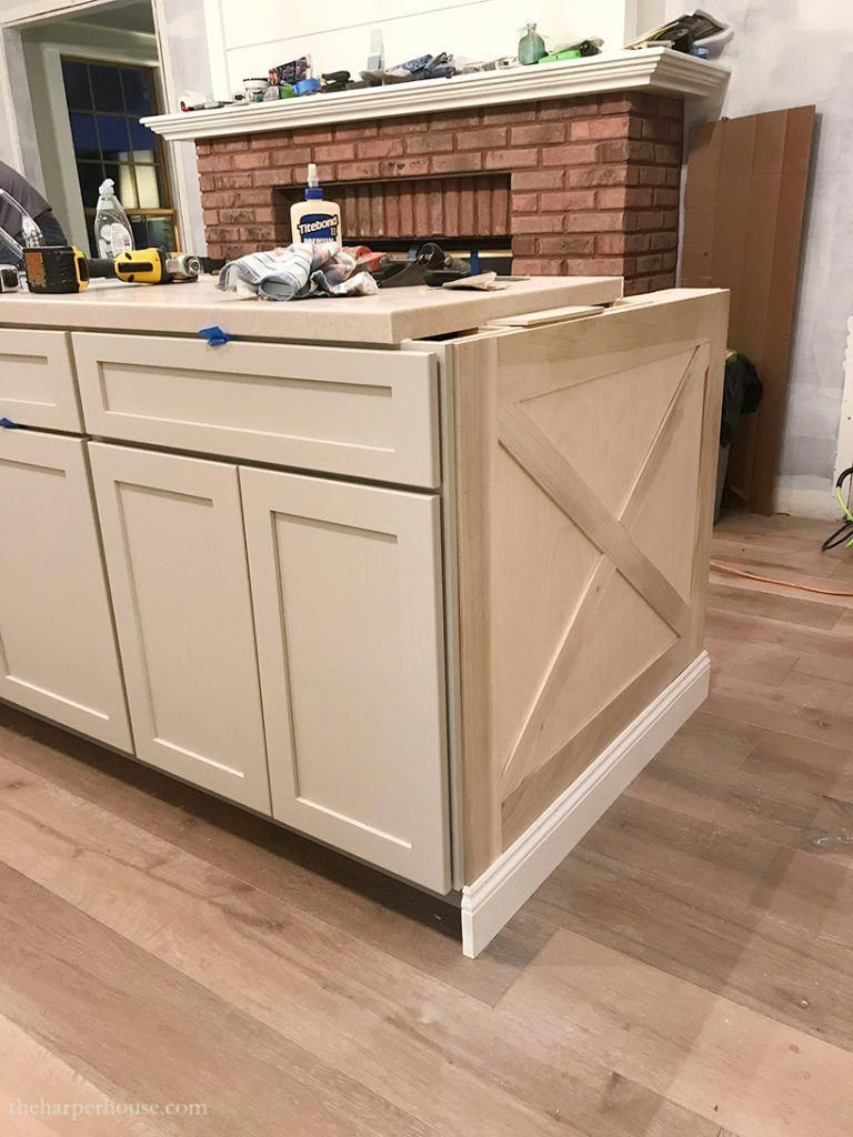 adding diy kitchen island trim to basic builder grade cabinets rh pinterest com