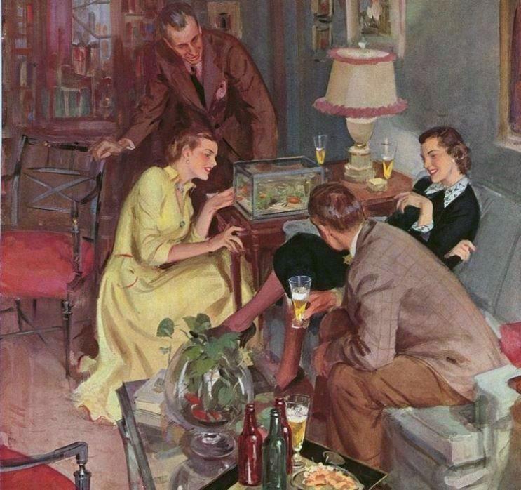 Gannam, John (b,1907)- Admiring Goldfish Bowl (Beer ad)