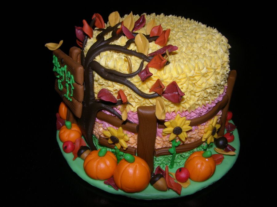 Fall birthday cakes fall autumn themed cake for 1st for Autumn cake decoration