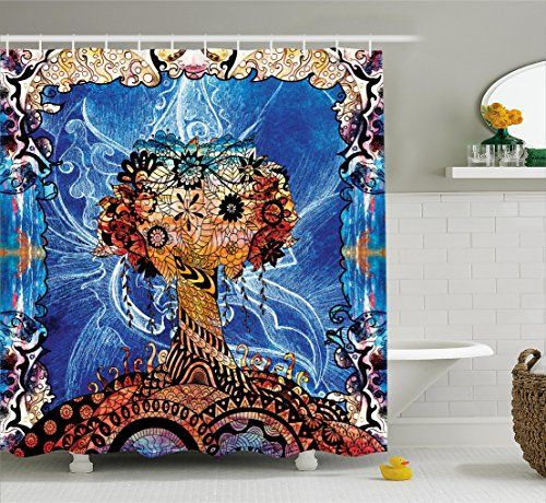 Bathroom Rugs Ideas Trippy Shower Curtain By Ambesonne Indie Style Sketchy Retro Tree With Flower Forms On P Colorful Curtains Shower Curtain Sizes Bathroom Decor Sets