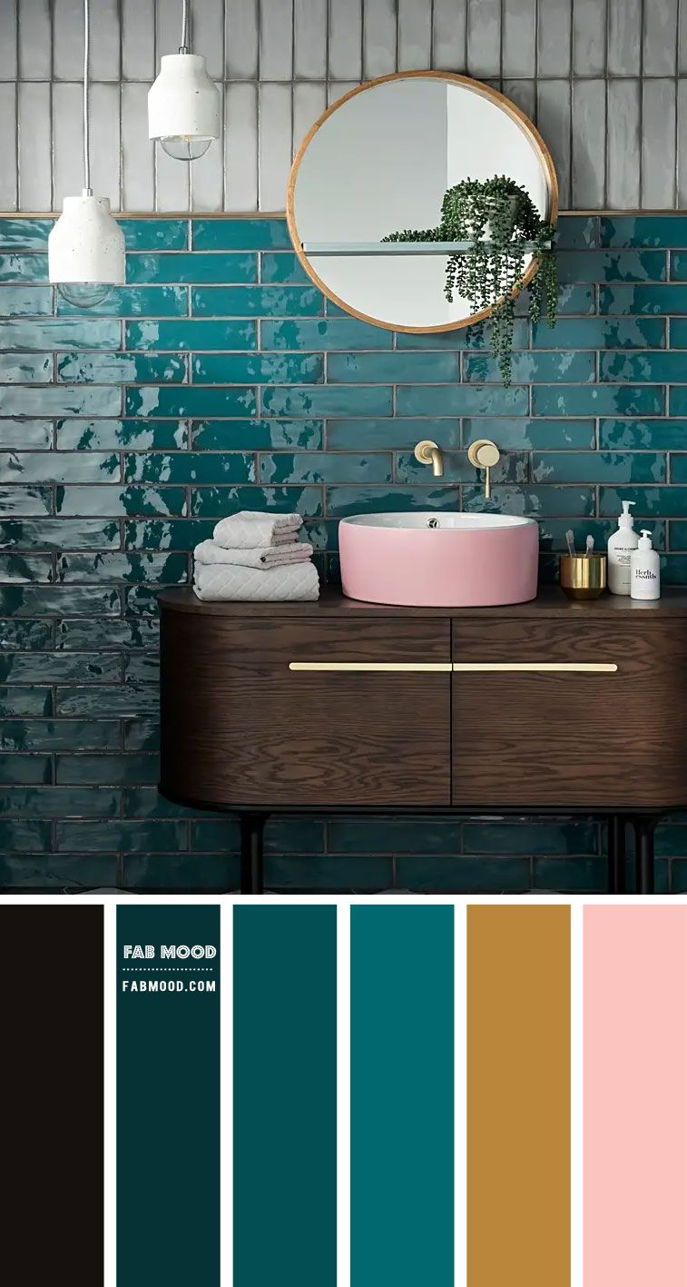 Photo of Emerald Green and Pink Color Scheme for Bathroom