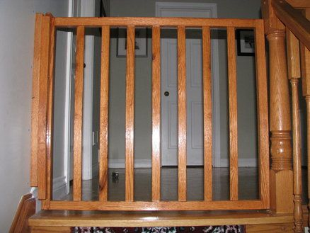 White Oak Banister Baby Gate Baby Gate Self Closing And Latching