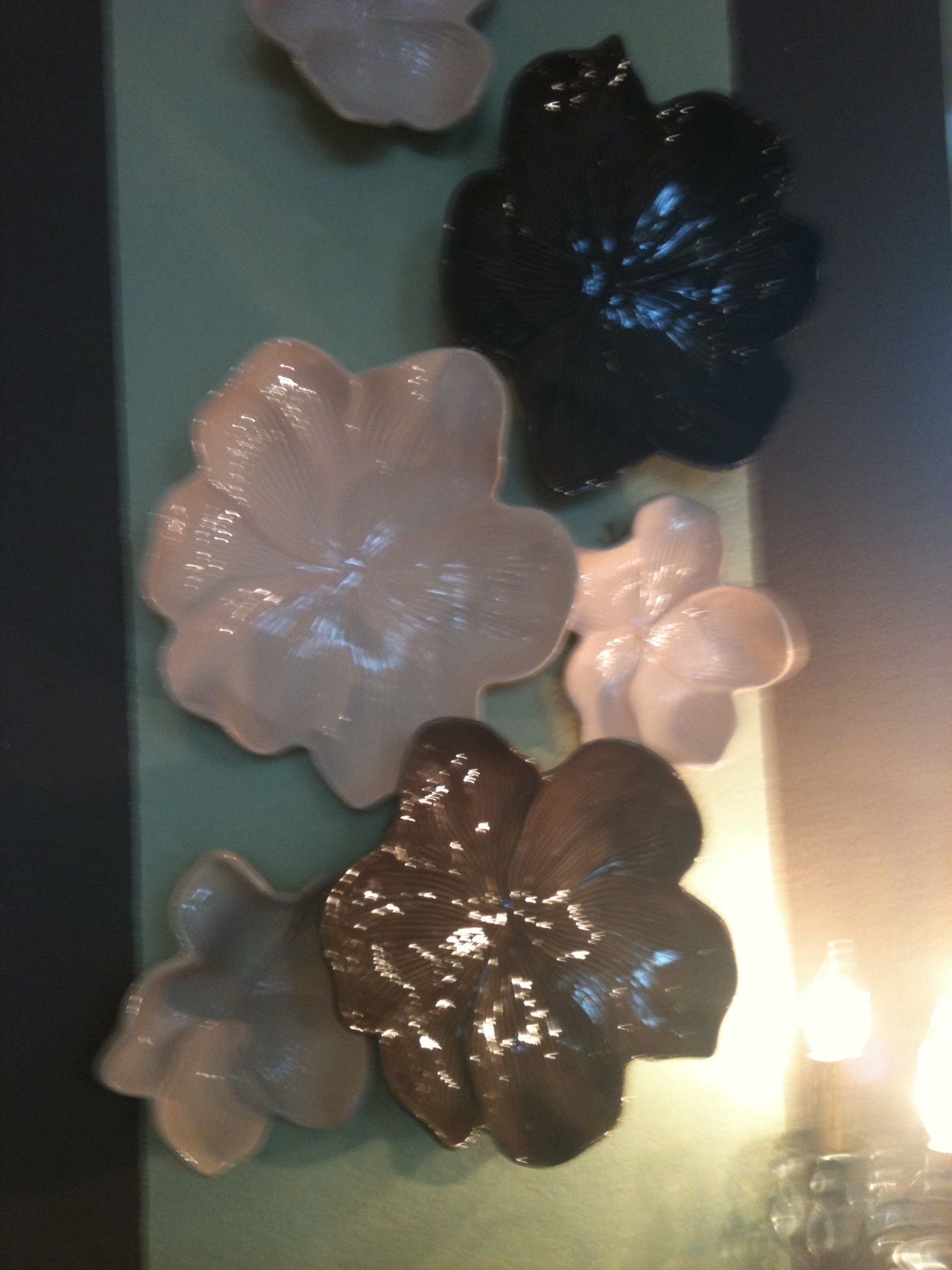Shiny Ceramic Flowers From Arhaus Make A Nice Wall Collage For Circuit Board Clock By Monogramit