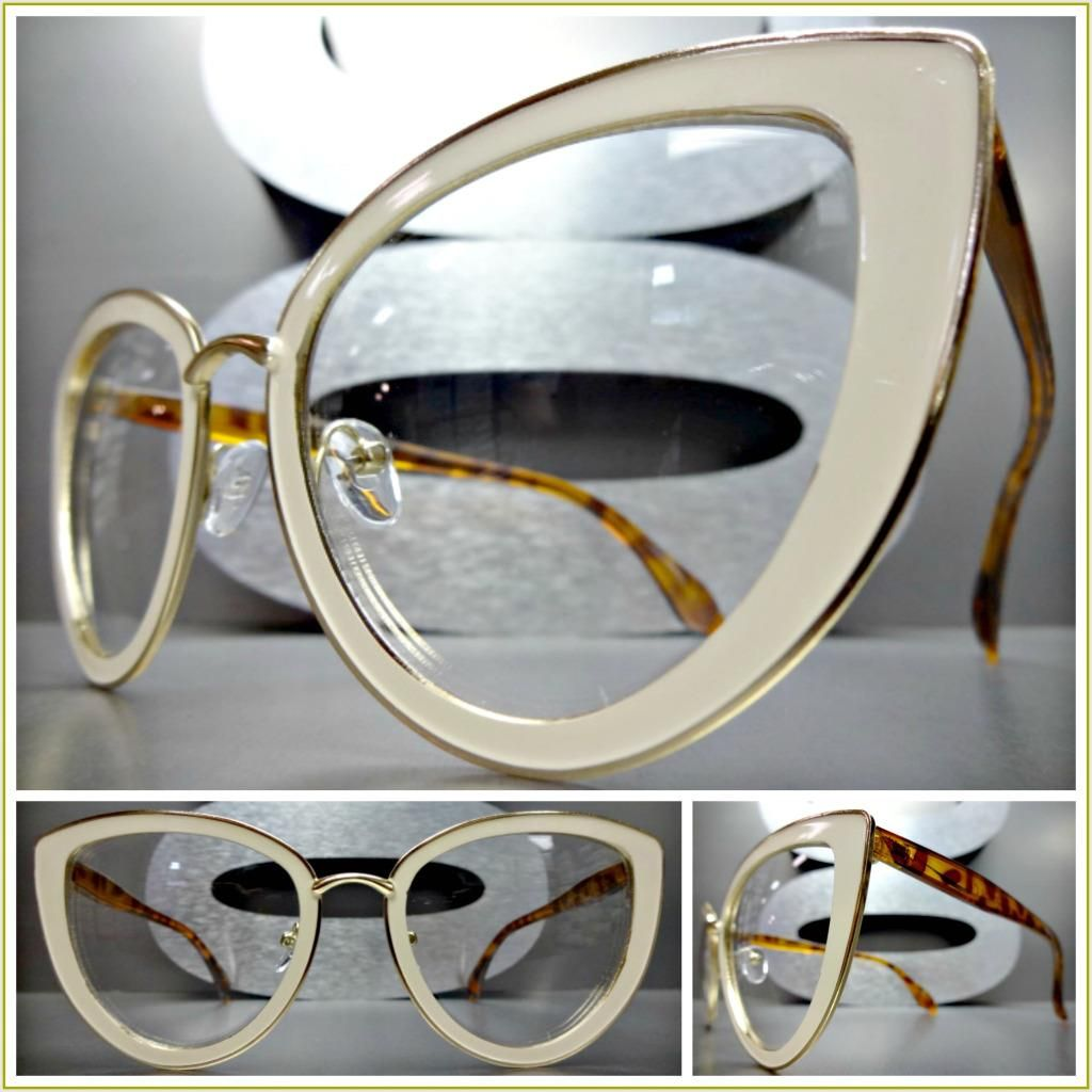 5486d817922a CLASSIC VINTAGE 60's RETRO CAT EYE Style Clear Lens EYE GLASSES Cream Gold  Frame