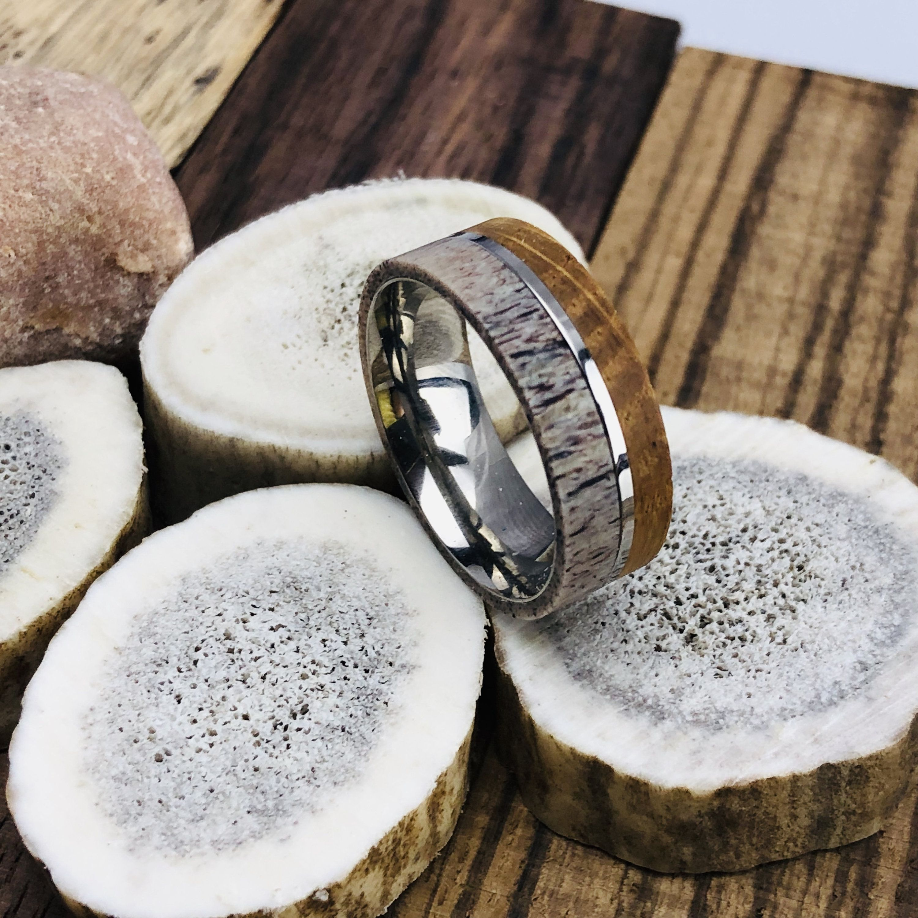 Whiskey Barrel Wood And Antler Titanium Ring Mens Wedding Band Jack Daniel S Bourbon Ring