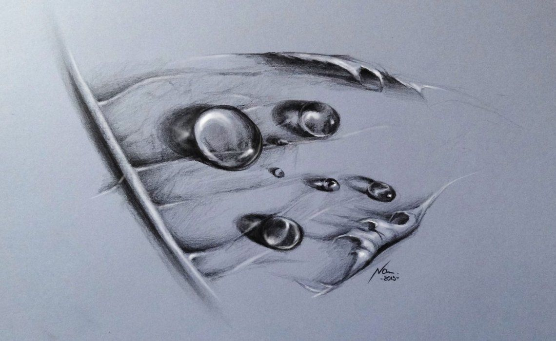 Pencil drawing water drops