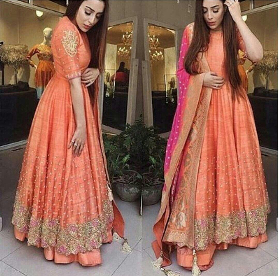 1f8c4a36a7 Beautiful orange anarkali Anarkali Gown, Bridal Anarkali Suits, Sharara Suit,  Indian Bridal Lehenga