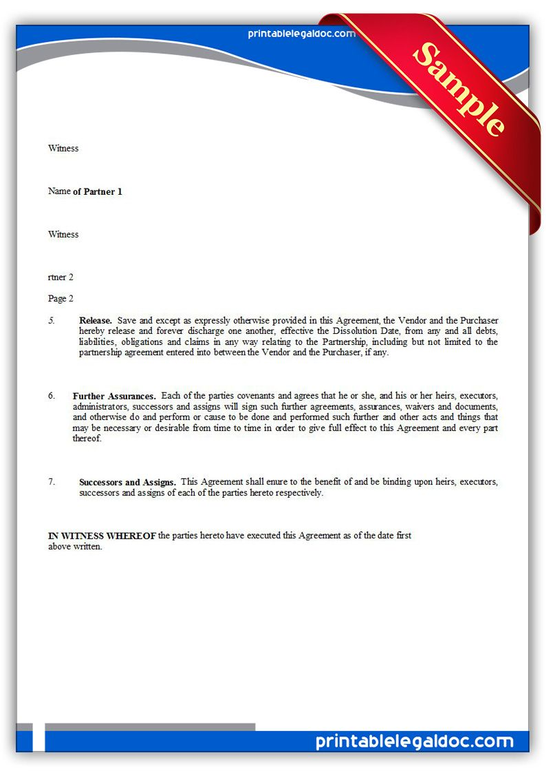 Free Printable Partnership Dissolution Agreement Legal Forms