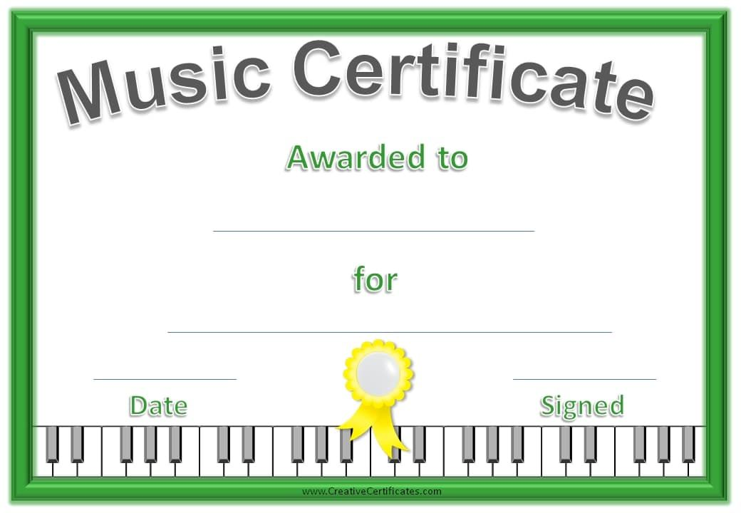 Music Certificate Template Free And Customizable Graduation Ww