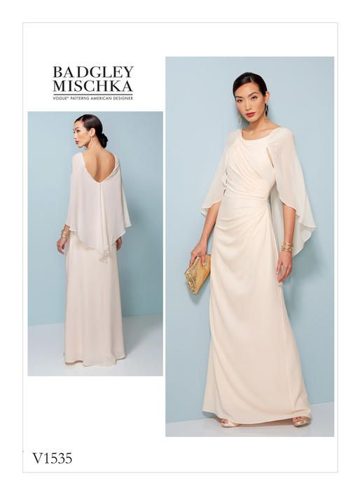 5ae49eabc2c3a Share with Close-fitting lined dress has side pleating and attached cape.  FABRICS  Matte Jersey