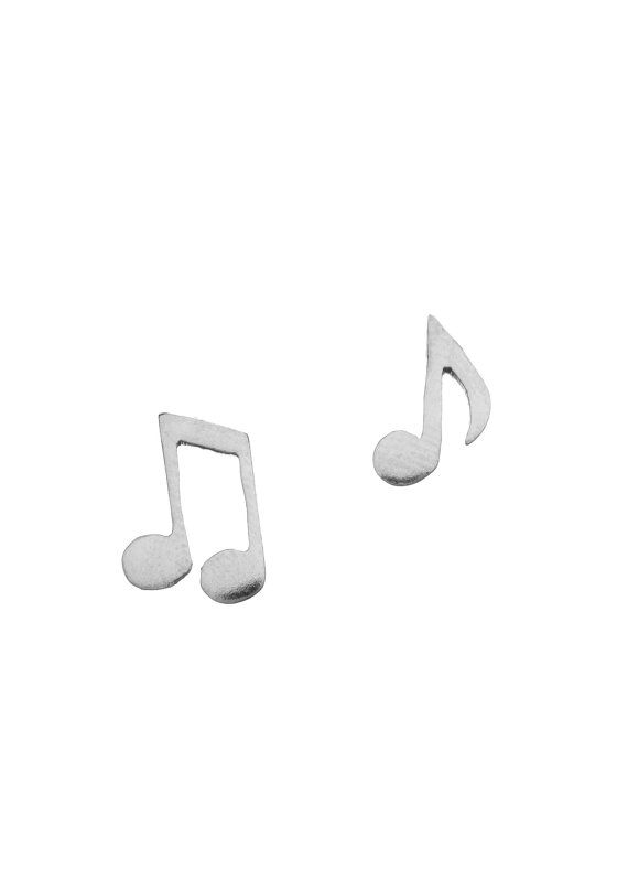 Music Note Sterling silver post stud earrings by puzzledlife