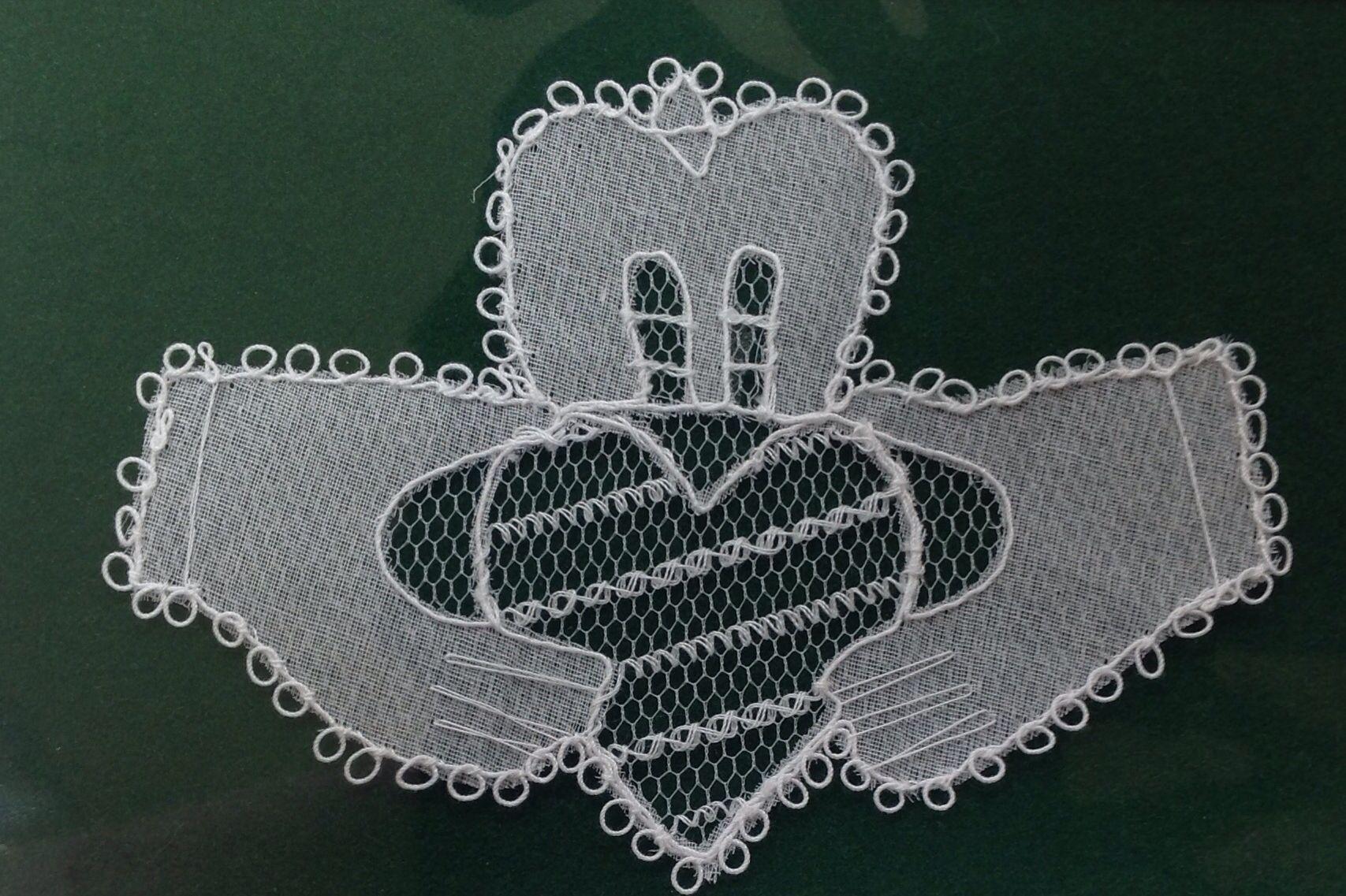 Handmade carrickmacross lace Claddagh symbol