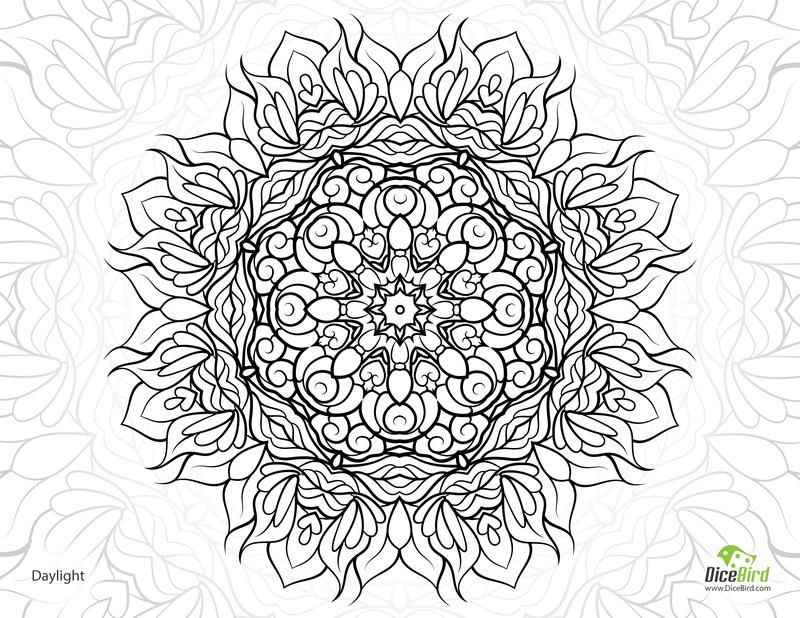 Daylight Mandala flower printable adult coloring pages | Färben ...