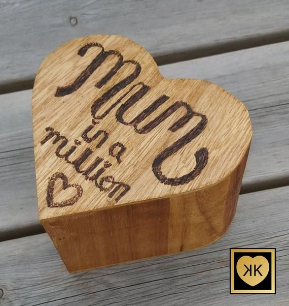Heart Shaped Trinket,  Jewellery Box in Antique Pine Effect.  Wood burnt quote Mum in a million. #mumsetc