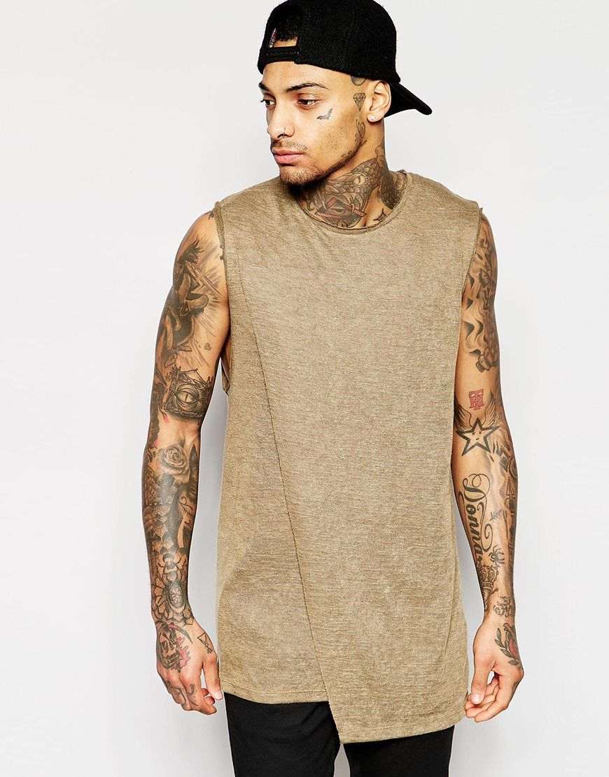 Shop ASOS Longline Sleeveless T-Shirt With Dropped Armhole And Double Layer  Raw Edge at ASOS.