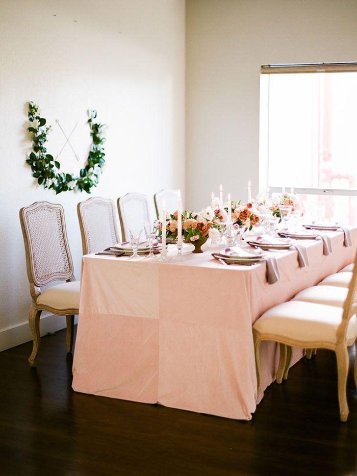 La Tavola Fine Linen Rental Velvet Pink with Tuscany Thistle - fresh blueprint furniture rental