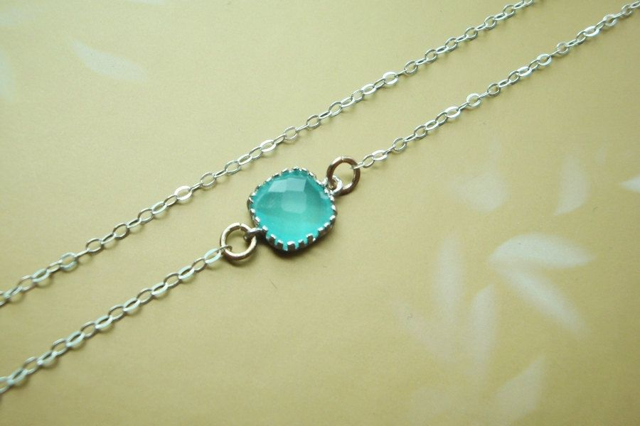 Aqua blue crystal in bezel sterling silver necklace-simple everyday jewelry. $22.00, via Etsy.