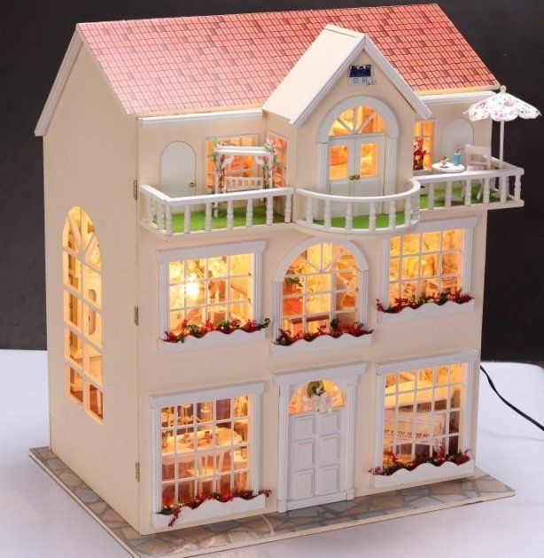 fairy homeland diy wooden dollhouse lighting three storeyed house gift with light 146 06. Black Bedroom Furniture Sets. Home Design Ideas