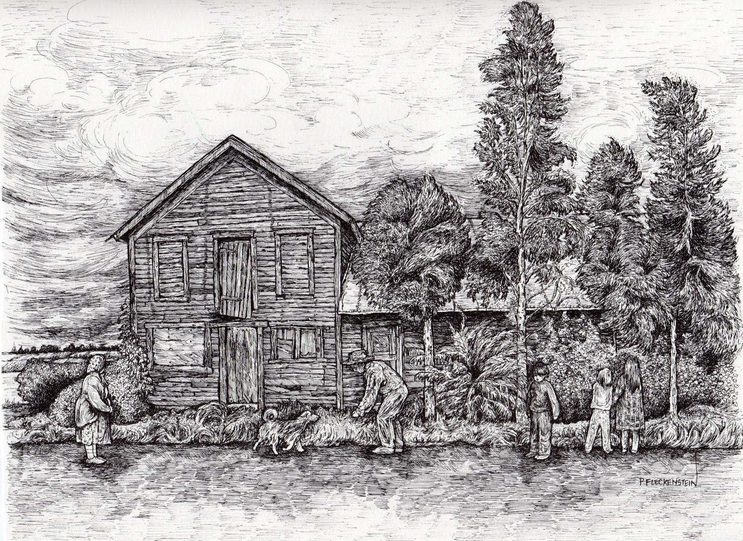 Pen And Ink Drawing PRINT,Country Road,Landscape,Old House,Family,