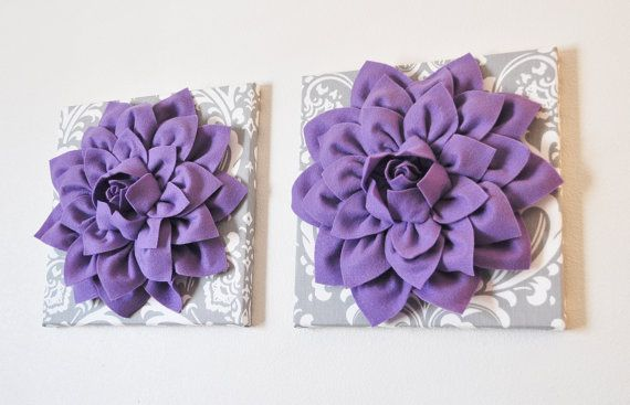 TWO Flower Wall Hangings -Lavender Purple Dahlias on Gray and White ...