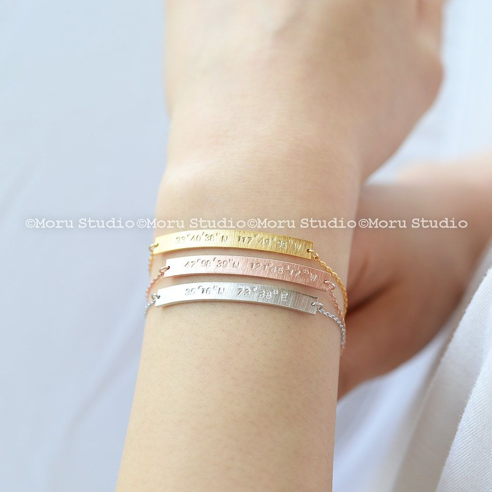 bracelet engraved custom long coordinate inch inches latitude longitude pin