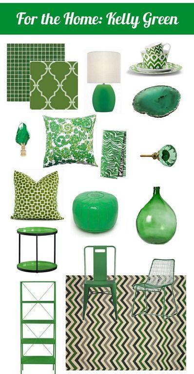 From top left: Kelly Green Mosaic Tile, Mosaic Tile Supply, 4.60 per sheet; Vincenza wallpaper, York Wallcoverings; Figueroa Lamp, Apt2B, 38; Green Ikat Dinnerware, C Wonder, 12; Agate Plates, Vivre, 60; Money Finial, Chic Shop LA. 65; Dagmar Pillow, Hus, 29£; Privet House Napkin, Set of 4, Target; 16; Ruffle Flower Knob, The Cross Design, 10; Green Domino Pillow, Pop O Color, 45; Kelly green pouf, Imports from Marrakesh, 225; Emerald Vase, Terrain, 200; Luck Side Table, CB2,