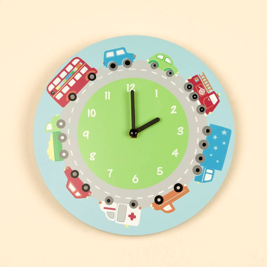Children\'s Bedroom Transport Wall Clock | Clock wall | Clock ...