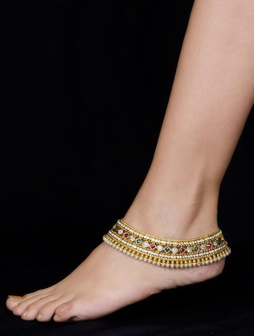 Hair & Head Jewellery Industrious Indian Ethnic Bollywood Antique White Tone Payal Pearl Anklet Wedding Jewelry Jewellery & Watches