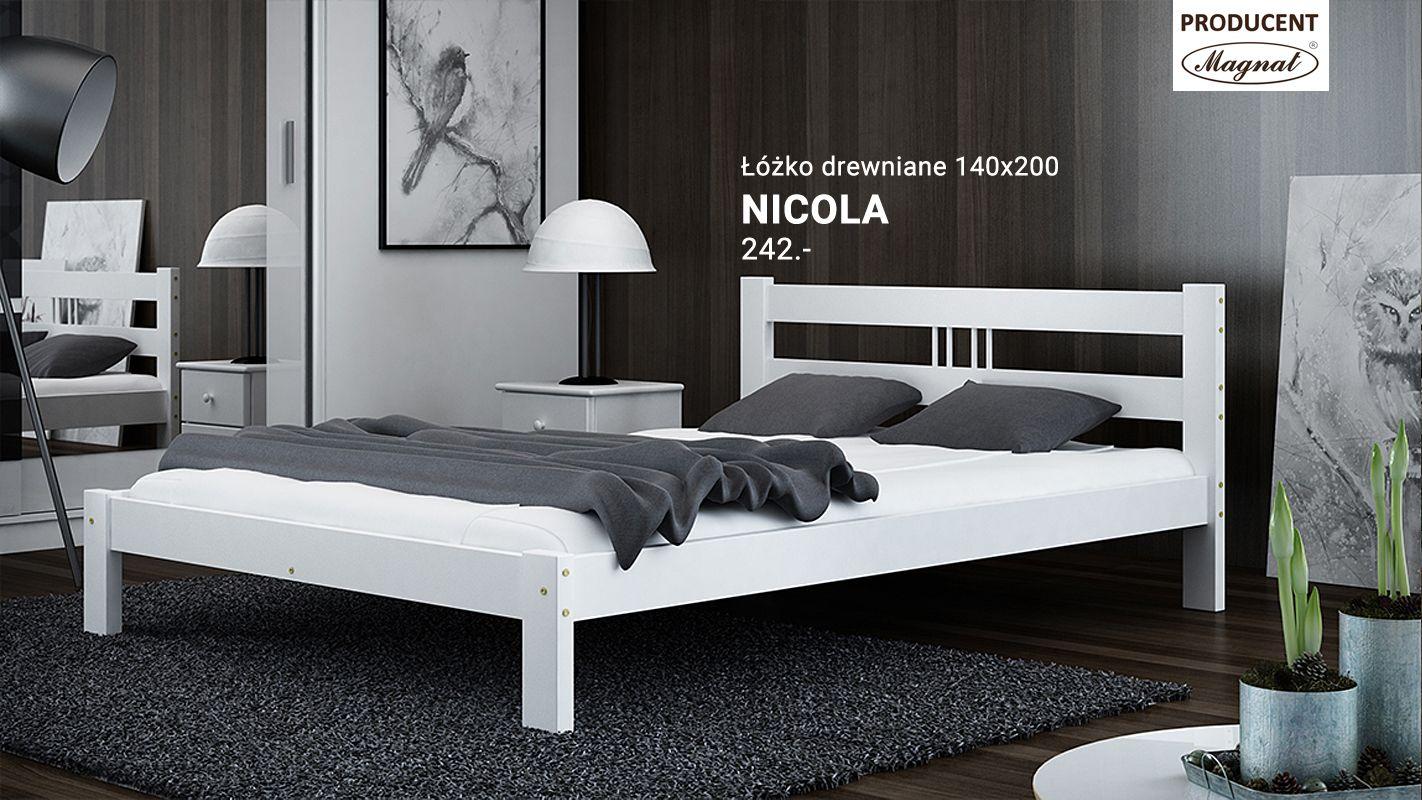 łóżko Drewniane 140x200 Nikola Białe Exclusive Białe łóżka