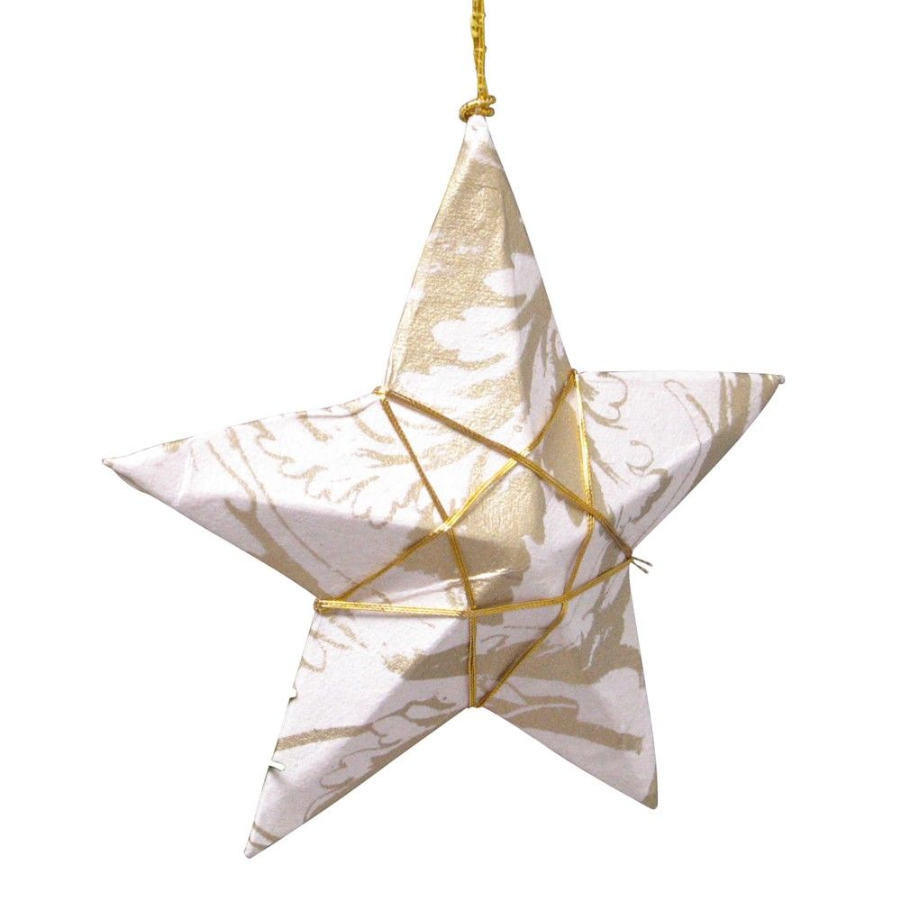 $1.50 Gold Paper Star Ornament. Artisans shape this star from gold and cream patterned handmade paper, binding it with thread to form an inner gold star. Find this fair trade goodie and more at Ten Thousand Villages Boston.