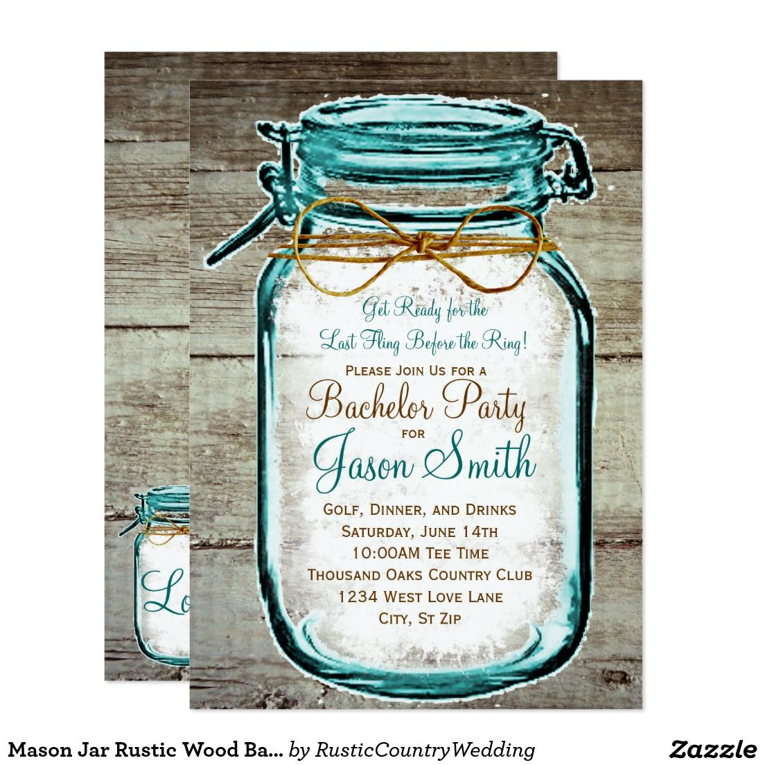 Mason Jar Rustic Wood Bachelor Party Invitations