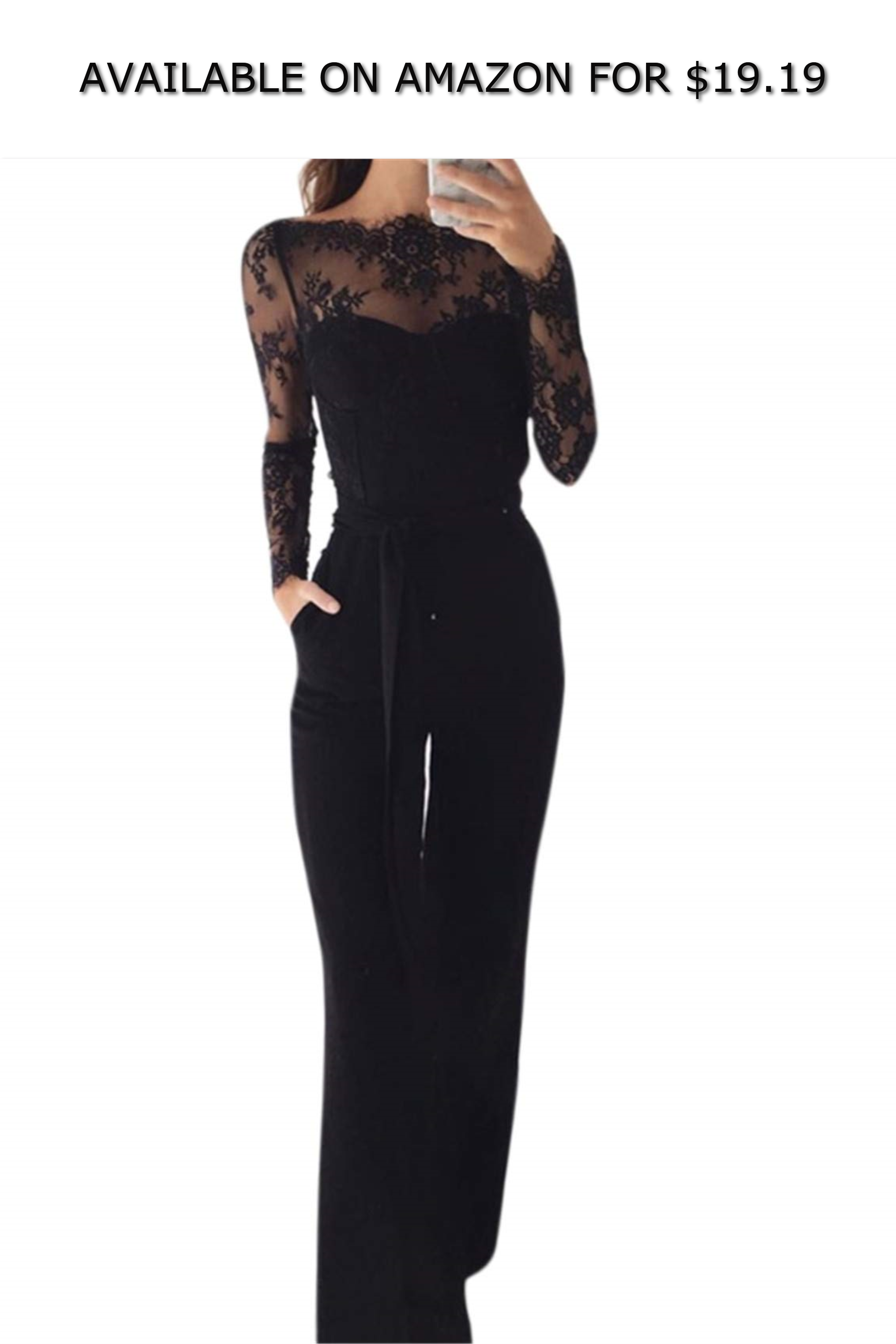 7e5c723ca5a Elegant Off Shoulder Lace Rompers Jumpsuit Sexy Long Trousers Overalls  Jumpsuit ◇ AVAILABLE ON AMAZON FOR