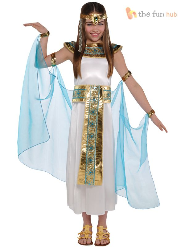girls cleopatra ages 3 4 5 years egyptian queen fancy dress kids costume outfit in clothes shoes accessories fancy dress period costume fancy dress - Egyptian Halloween Costumes For Kids