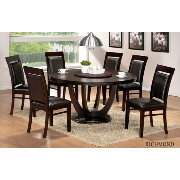 Casa Blanca 7 Pc Richmond Collection Round Espresso Finish Wood Dining Table Set Wit Round Dining Table Sets Espresso Dining Tables Wood Dining Table