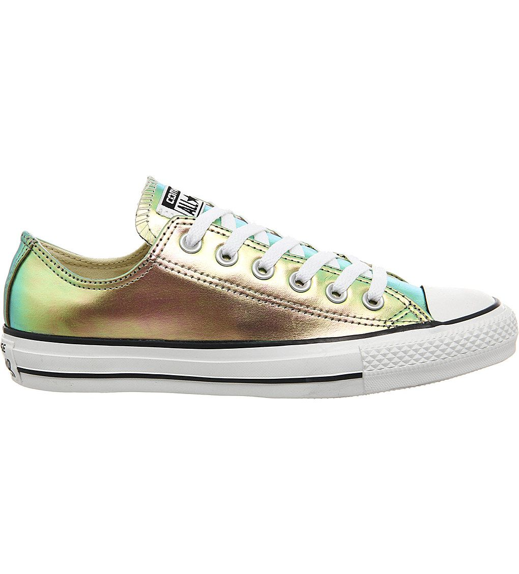 CONVERSE All star low-top iridescent leather trainers (Gold iridescent