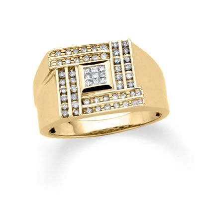 Men s 0 38 CT T W Diamond Matrix Ring in 10K Gold Peoples