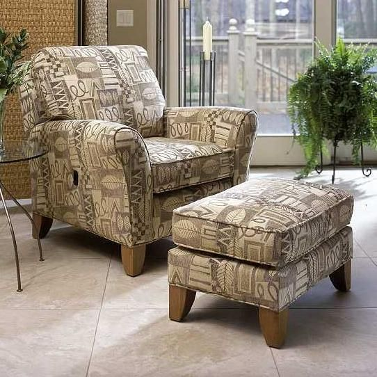 Awesome 966 Tilt Back Chair With Ottoman Set Flared Arms//Smith Brothers