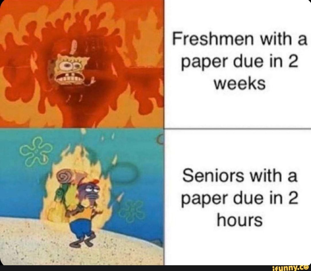 Freshmen With A Paper Due In 2 Weeks Piso Seniors With A Paper Due In 2 Hours Ifunny Spongebob Memes College Memes Memes